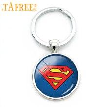 TAFREE Trendy cool boy gift superhero key chain handmade glass dome alloy keychain men accessories jewelry KC 125