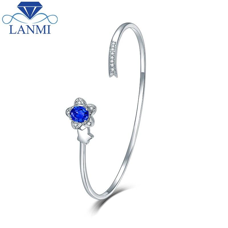 LANMI fille Bracelet réel 14K or blanc saphir naturel Bracelet joli Bracelet diamant bijoux pour fille fête cadeau de naissance