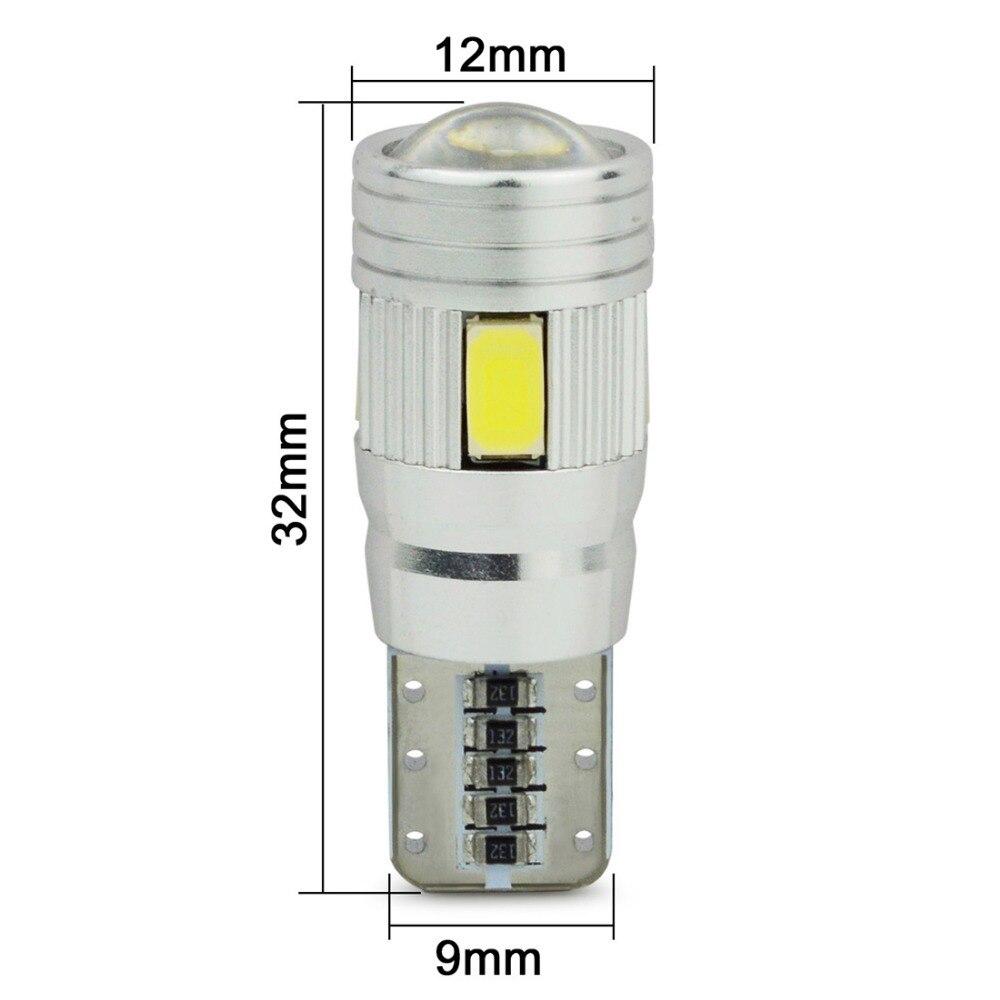 Safego, 1 Uds., LED para coche T10 W5W 6SMD 5730, bombillas de cuña para luces interiores exteriores de automóvil, Canbus 194 168, lámpara Domo LED