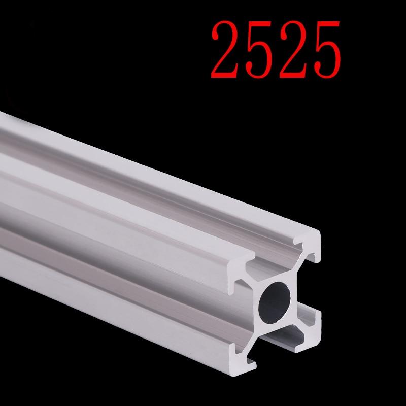 1 pçs 2525 perfil de alumínio 2525 extrusão padrão europeu anodizado trilho linear alumínio perfil 2525 cnc 3d peças da impressora