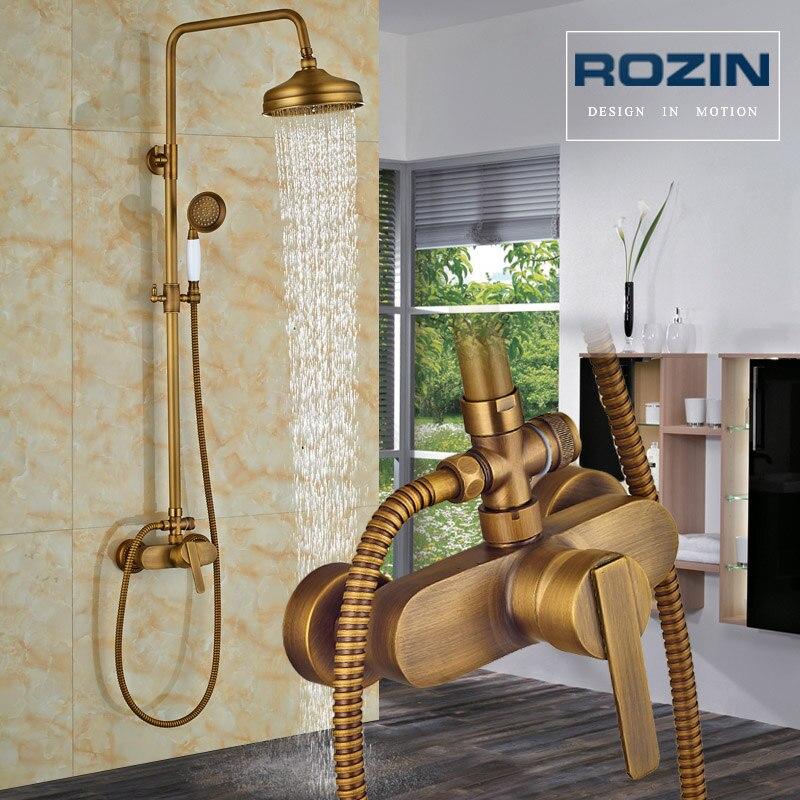 Mezcladores de ducha antiguos de latón Set de ducha de baño de lluvia con ducha de mano grifo de ducha montado en la pared de un solo mango