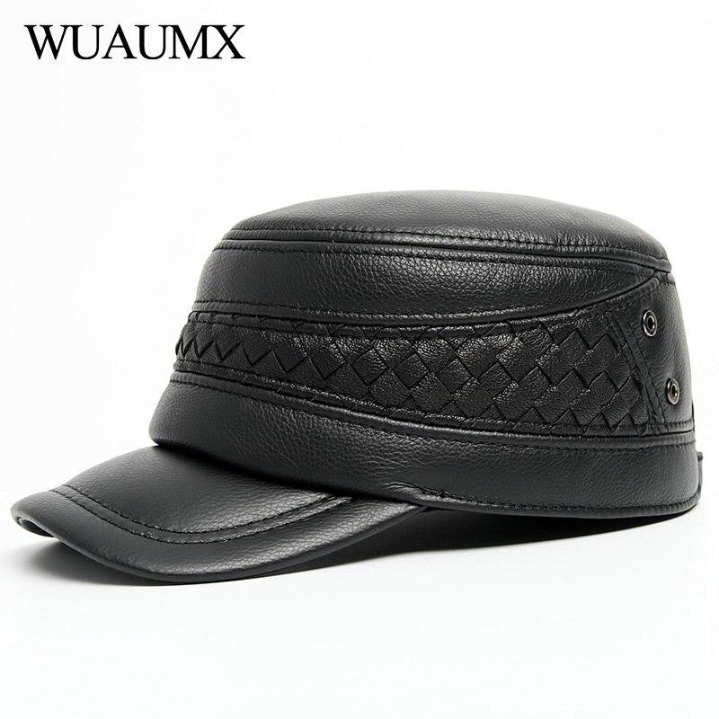Wuaumx جديد الشتاء جلد طبيعي القبعات العسكرية للرجال الدافئة قبعة رفرف للأذن غطاء جلد البقر جلد البقر شقة غطاء للأذنين قبعة بيسبول