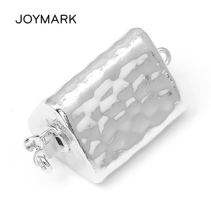 JOYMARK 14x25mm triángulo caja de plata esterlina 925 conector con broche pulsera de perlas collar de accesorios de joyería SC-BC252