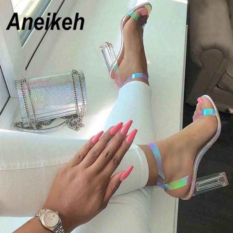 Aneikeh  2019 NEW PVC Sandals Women Open Toe High Heel Sandals Transparent Buckle Strap Clear Glass Heel PU Dress Shoes