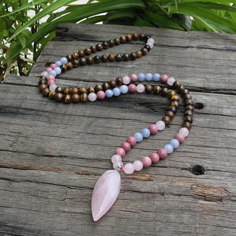 8mm Tiger's Eye And Rhodochrosite JaPaMala Beads Necklace, Long Nacklace, 108 Bead Mala, Mala Jewelry, Yoga Class Prayer Jewelry