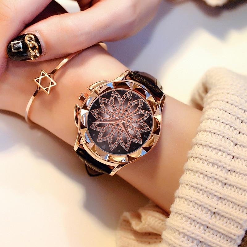 2019 Fashion Ladies Watch Women Leather Strap Rhinestone Quartz Women's Watch Gift Rose Gold Clock reloje mujer montre femme 511