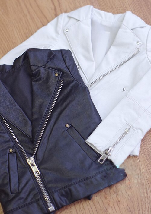 BJD clothes coat motor vehicle leather fur coat for 1/3 BJD SD13 SD17 Uncle doll white black 2 color coat