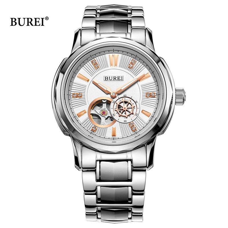 Relojes mecánicos BUREI para hombre, oro rosa, plata, zafiro militar, cristal de negocios, reloj de pulsera automático, reloj Saat Montre Homme