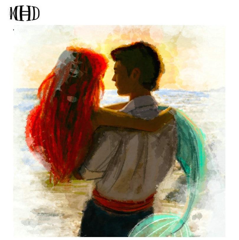 "MHD ""Boy Mermaid"" Diamond Embroidery Full & Square 3d diy Diamond Cross Stitch Rhinestone Canvas Home Decorative Wall Stickers"