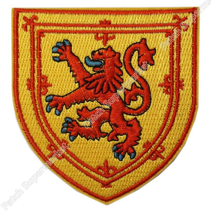 "Escudo con bandera de Escocia de 3,5 "", parche bordado, Escudo de Armas, emblema de León, rampante, bandera escocesa, hombro uniforme con plancha"