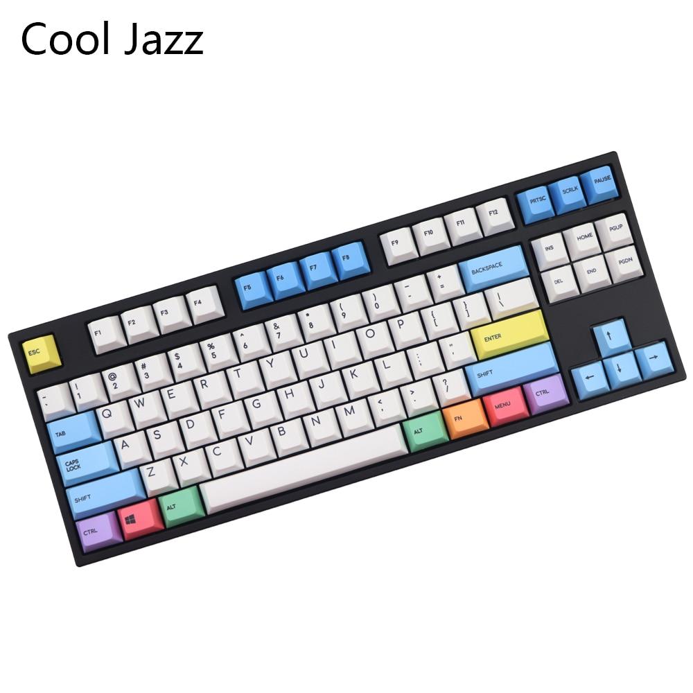 Cool Jazz 123-لوحة مفاتيح ميكانيكية ، pbt ، Cherry mx ، أغطية لوحة مفاتيح ، ملف تعريف الكرز المغلق ، 1.75 تغيير ، غلاف طباشير