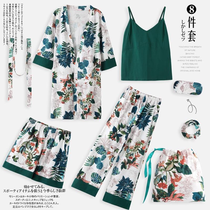 Пижама, весенне-осенняя пижама с длинными рукавами, кимоно из чистого хлопка, ночная рубашка с листьями, комплект из 7 предметов, соблазнител...