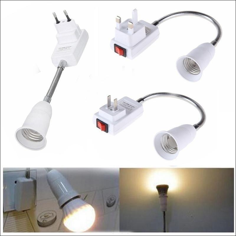 Штепсельная вилка ЕС/Великобритании E27 держатель лампы бытовой гибкий удлинитель-адаптер с конвертером винтовой разъем