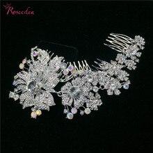 Strass alliage délicate mariée peigne accessoires de mode AB cristal peignes femme cheveux de mariage bijoux RE3301