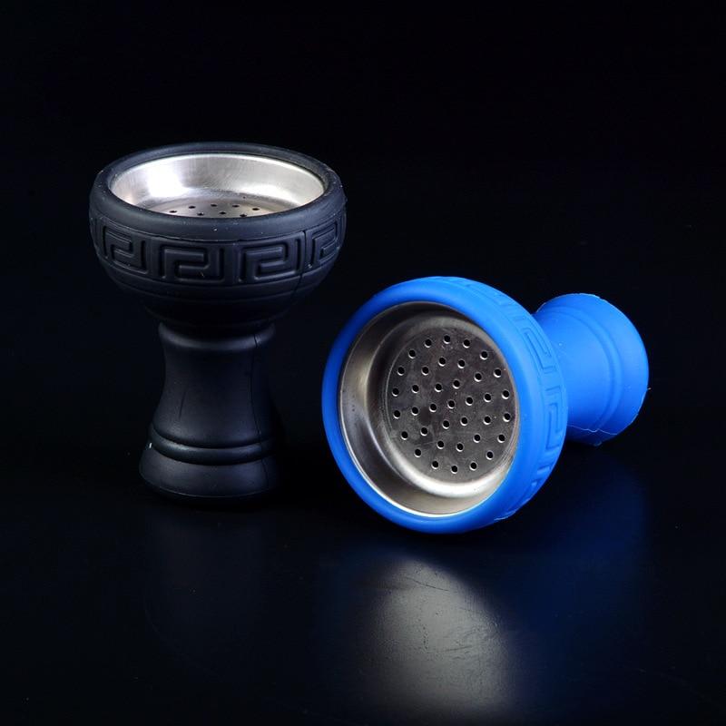 Cachimba de silicona árabe de alta calidad, narguile de metal resistente a altas temperaturas, Cenicero con agujero pequeño, Recipiente mezclador de silicona, accesorios para pipa de agua