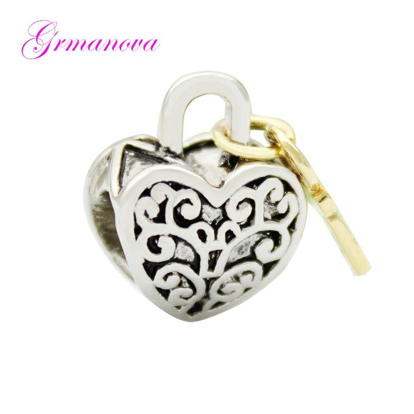 Teste padrão do vintage amor & chave de ouro presente do Dia Dos Namorados charme beads amuleto projeto original da marca Fit Pandora Pulseira Colar