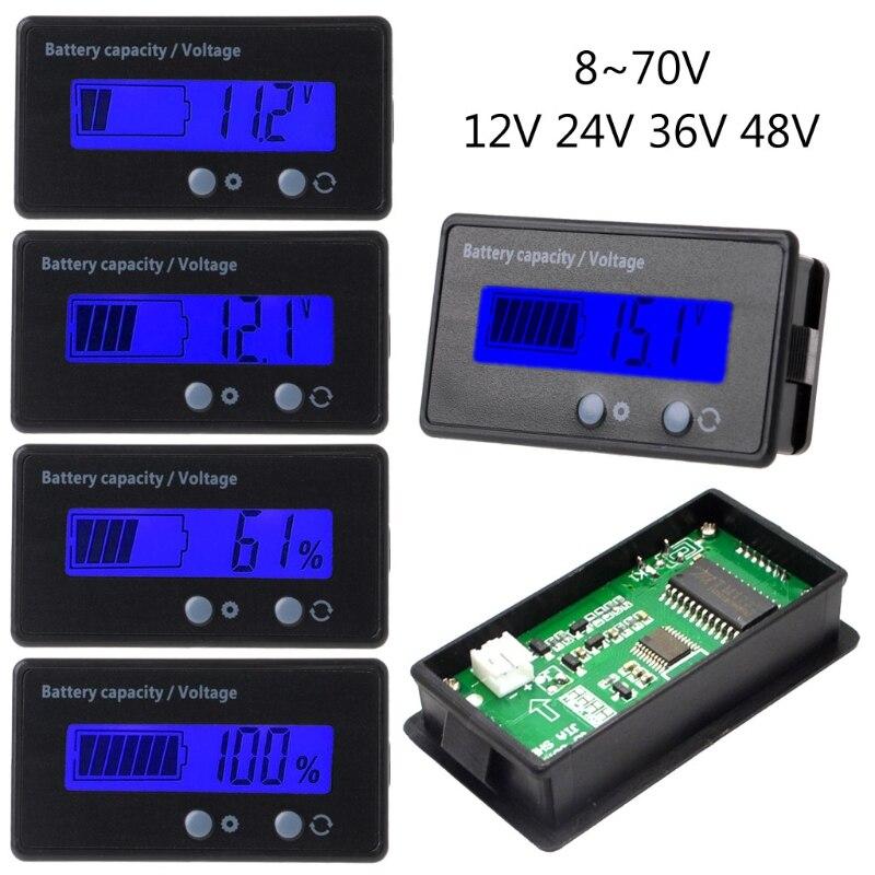 8-70 в синий ЖК-дисплей свинцово-кислотный литиевый аккумулятор ёмкость вольтметр с индикатором датчик 2в1
