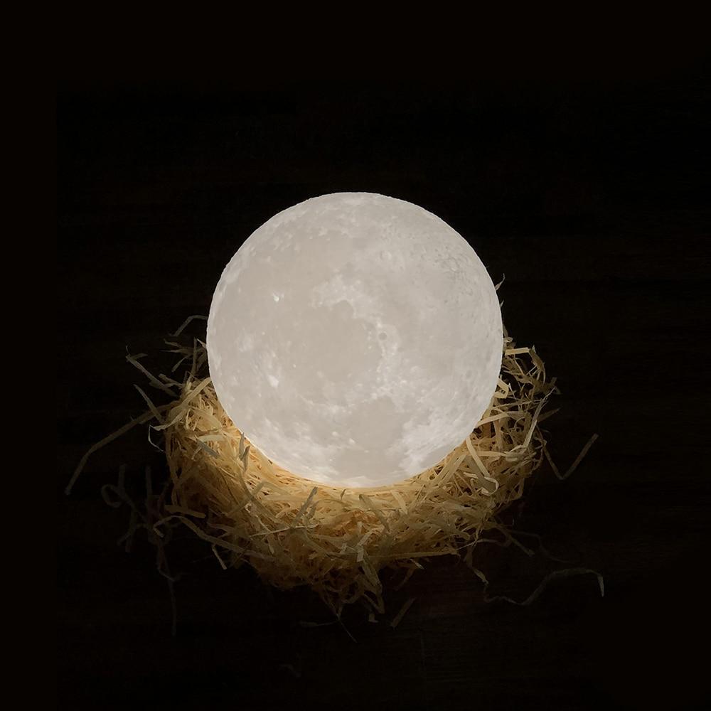 3D Printer Part Rechargeable 3D Print Moon Lights Led Touch Lamp 2 Colors Changing DIA 15CM Christma