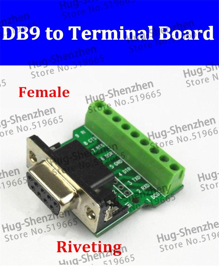 Alta calidad DB9-G1 fascinante DB9 DR9 mujer terminal DB9-G1 giro la cabeza terminal de 50 unids/lote