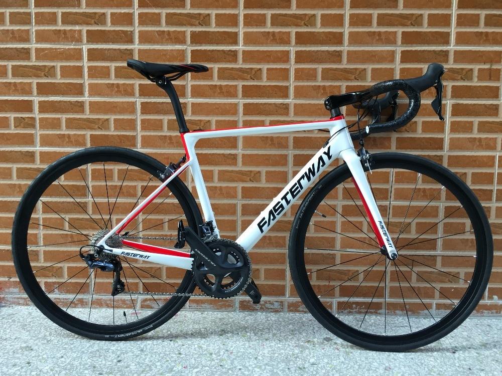 Marca TAIWAN FASTERWAY Super Light 700C Bicicleta de carretera de carbono completa Bicicleta 22 velocidades R8000 Groupset Bicicleta D freno 49/52/54/56
