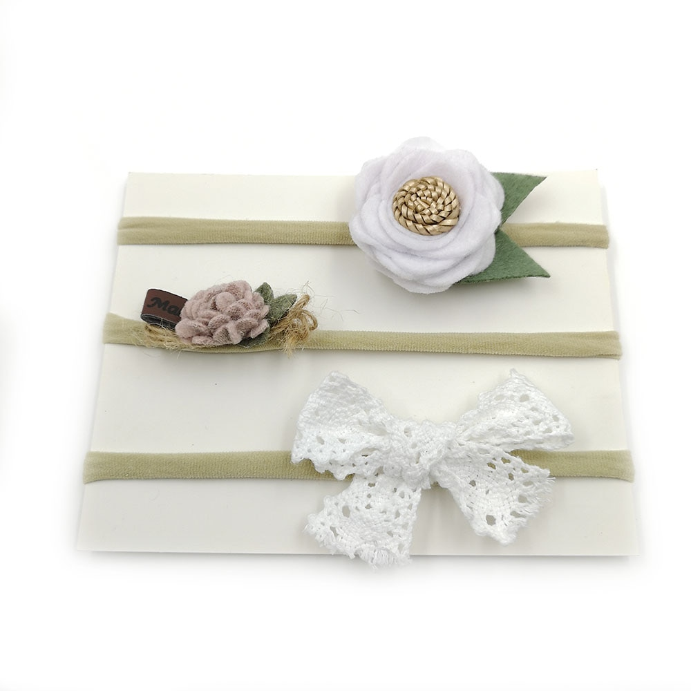 5 set/lote de lazos florales para niñas y bebés en diadema de nailon, diadema para recién nacidos, accesorios de fotografía para el cabello, Kidocheese