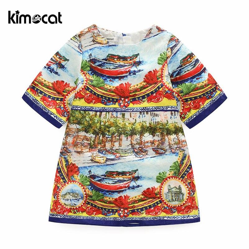 Kimocat الصيف الفتيات اللباس خمر الجمارك الصينية الحبر اللوحة الطباعة الأميرة حفلة موسيقية حزب الأطفال الملابس زي الاطفال