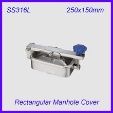 250x150mm SS316L Stainless Steel Rectangular  Manhole Cover  Manway  tank door way