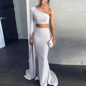 Женское длинное вечернее платье-русалка, платье с одним открытым плечом и длинным рукавом в арабском стиле, официальное платье для вечеринк...