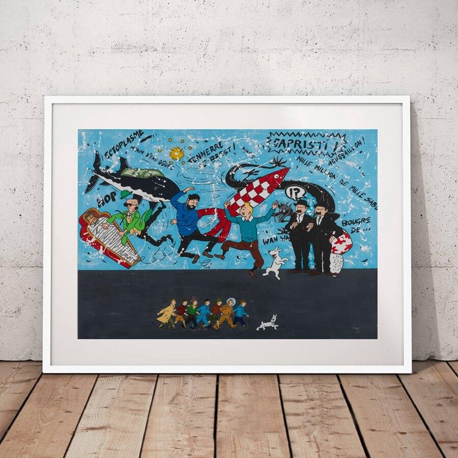 Картина на стену из мультфильма «Приключения Тинтина», художественная живопись на холсте, персонажи мультфильмов, Художественная печать н...