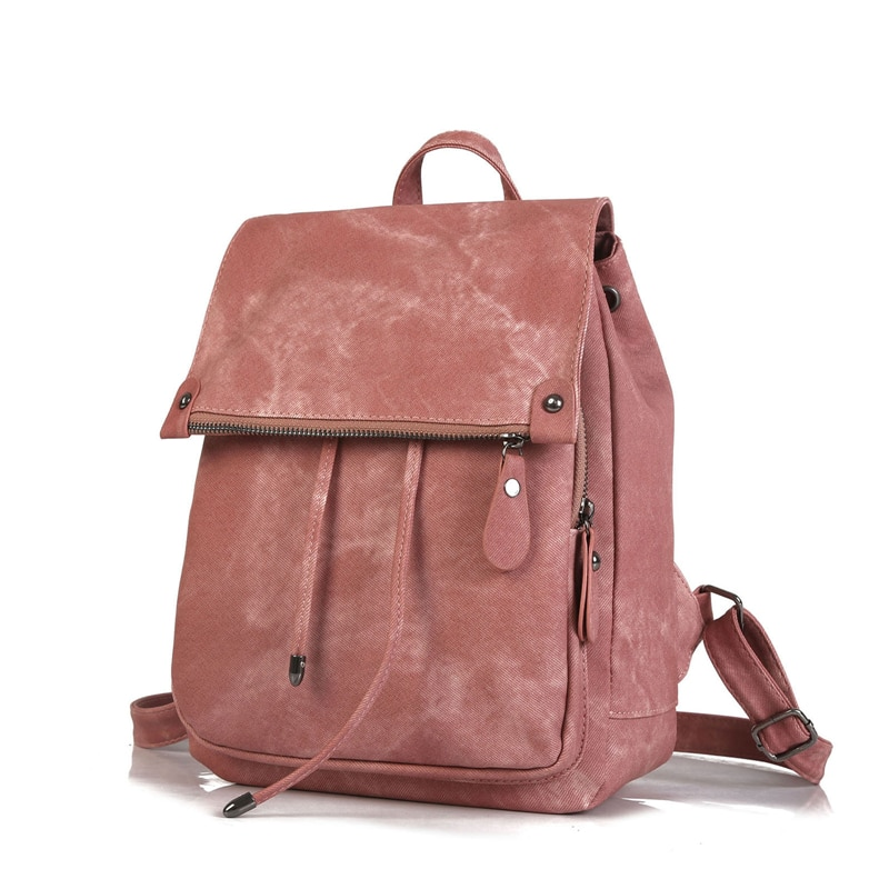 Amberler High Quality PU Leather Women Backpacks School Bags For Teenage Girls Fashion Ladies Travel Backpack Zipper Solid Bag