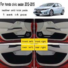De couro Do Carro-Styling Anti Pontapé Pad Anti-dity Portas Acessórios Mat para Honda Civic Sedan 2012 2013 2014 2015 2016 9th geração