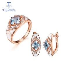 Naturel bleu ciel topaze pierres précieuses simples anneaux et boucles doreilles or rose 925 sterling argent ensemble bijoux pour filles cadeau de fiançailles