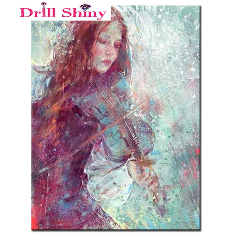 5d broca completa diy pintura diamante menina jogar o violino ponto cruz resina diamante redondo conjuntos de diamante completo bordado