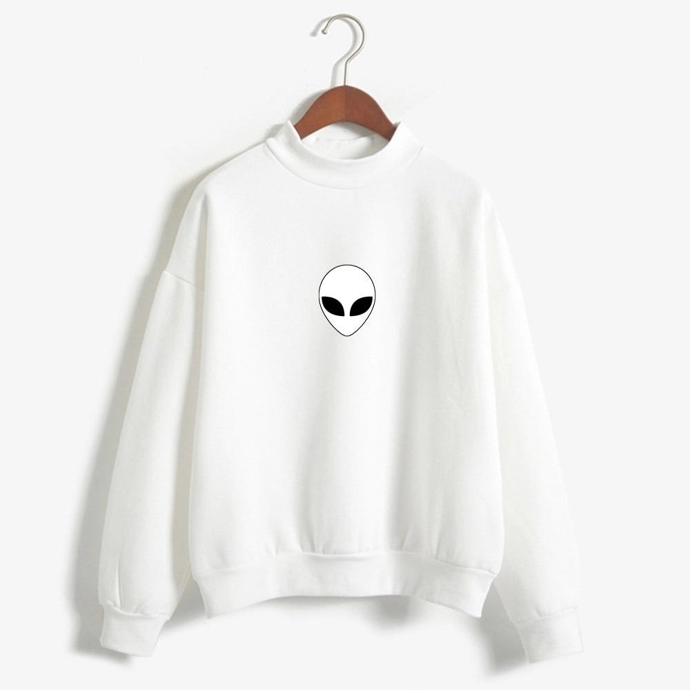 Alien Print Hoodie Sweatshirt Women Cute Aliens Long Sleeve Sweatshirts Tops Schoolgirl Streetwear K-pop Oversize Alien Tops