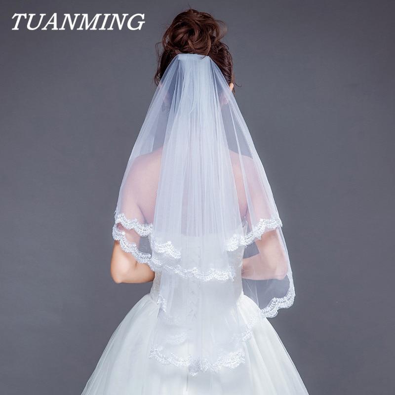 Velo de encaje de novia de dos capas con Apliques de encaje suave, velos de boda con peine Blanco/Marfil, accesorio de novia de gasa