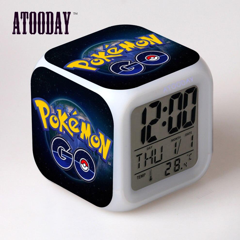 Reloj despertador Pokemon Go, luz Led, 7 colores, cambio De escritorio, De...