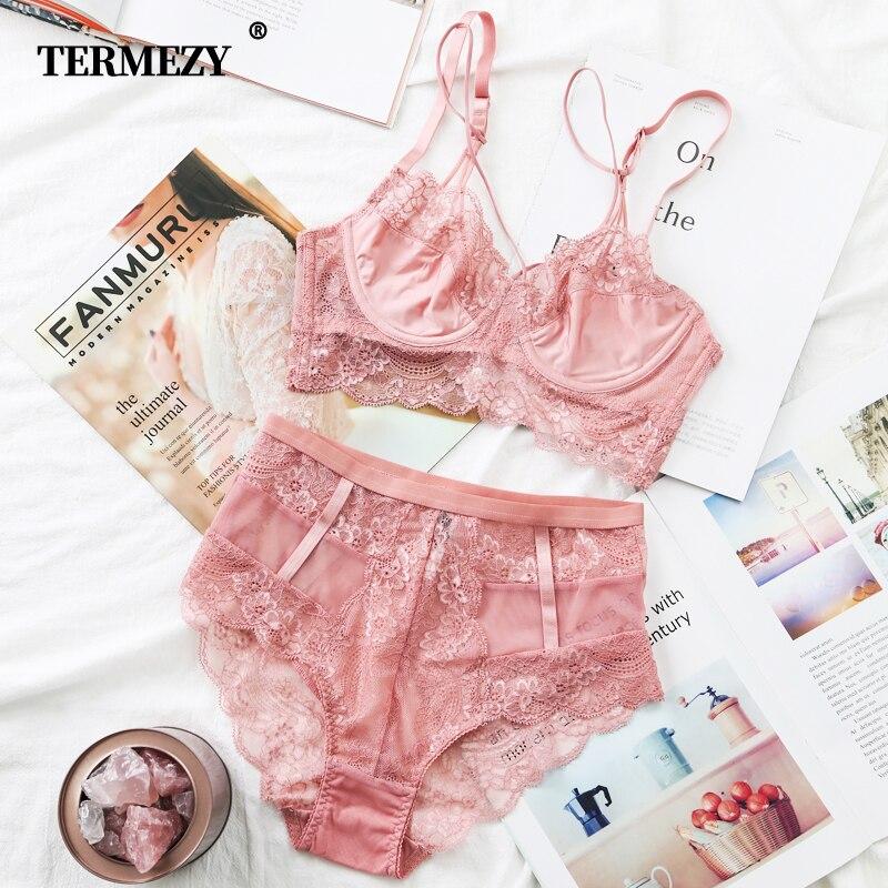 TERMEZY Klassische Bandage Rosa Bh Set Dessous Push-Up Bh Spitze Unterwäsche Set Sexy High-Taille Höschen Für Frauen unterwäsche