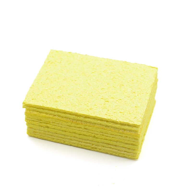 5 / 10tk kollane puhastusvamm, puhastusvahend jootekolvi elektriliseks keevitamiseks