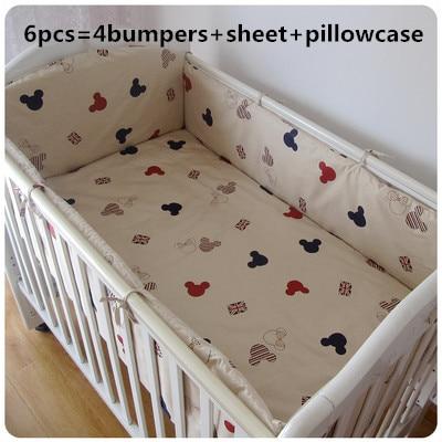 6pcs Cartoon Crib Bedding Set kit berço Crib Newborn Baby Bed Linens for Girl Boy,(4bumpers+sheet+pillow cover)