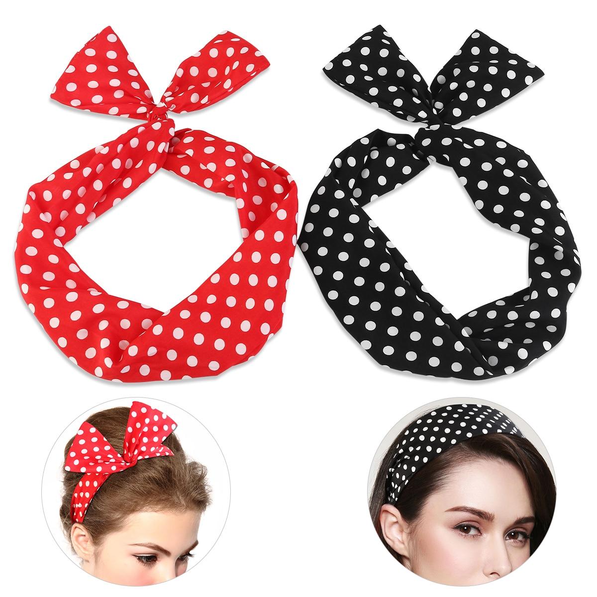 PIXNOR 2pcs Women Chiffon Head Wrap Cross Elastic Stretch Dot Hairband