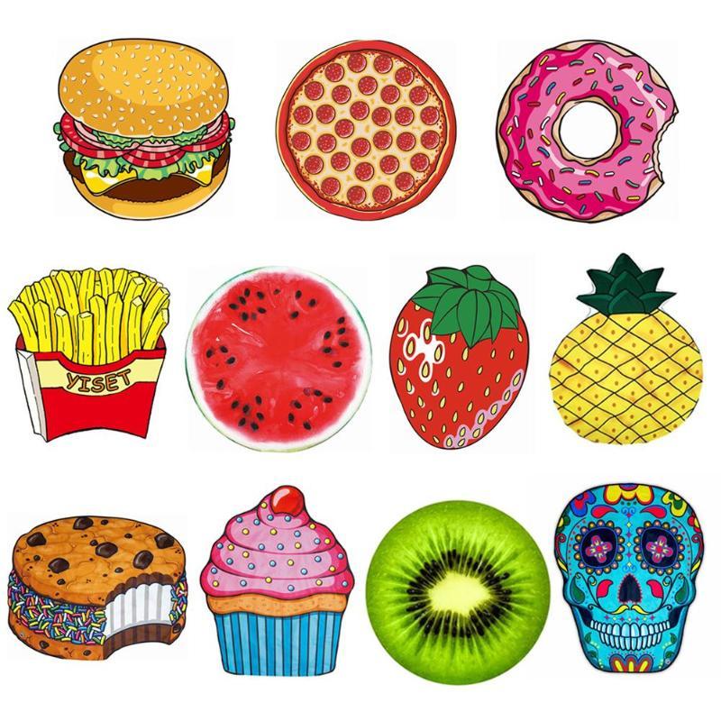 Pineapple Doughnut Pizza Fruit Tapestry Picnic Mat Beach Blanket Home Wall Art Blanket Picnic Decor For Summer Beach Supplies