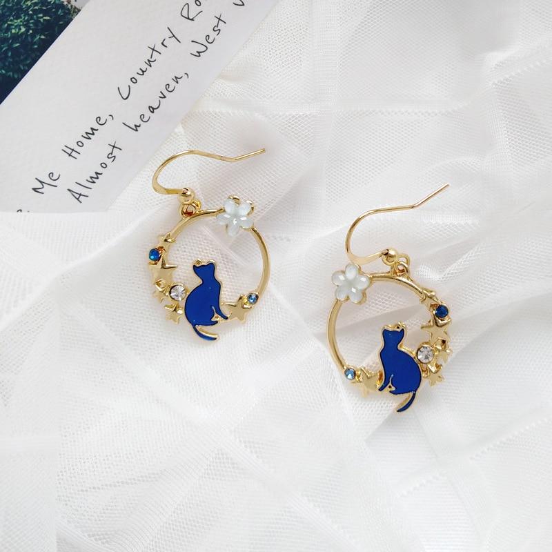 Stylish Cartoon Blue Cats Geometric Round Hoop Earrings for Girls Cubic Zircon Small Flowers Loop Earrings