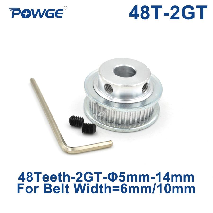 POWGE GT 48 Teeth 2M 2GT Timing Pulley Bore 5/6/6.35/7/8/10/12/14mm for GT2 Open Synchronous belt width 6/10mm wheel 48Teeth 48T