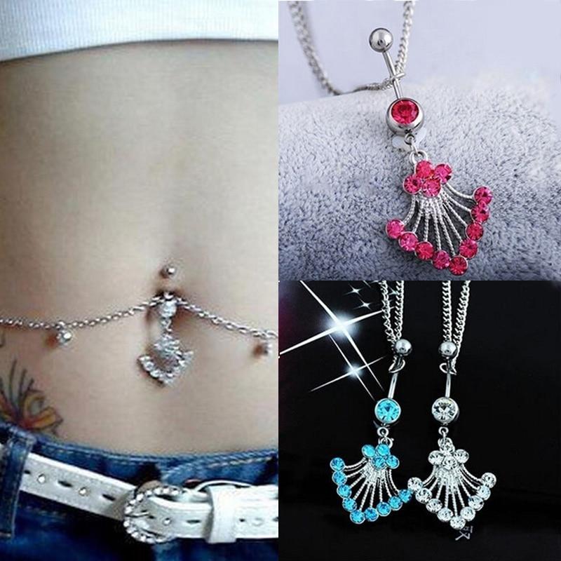 LNRRABC, anillo para ombligo con diamantes de imitación de cristal de estilo étnico para mujer, anillo con botón, cadena para la cintura, joyería para Piercing corporal