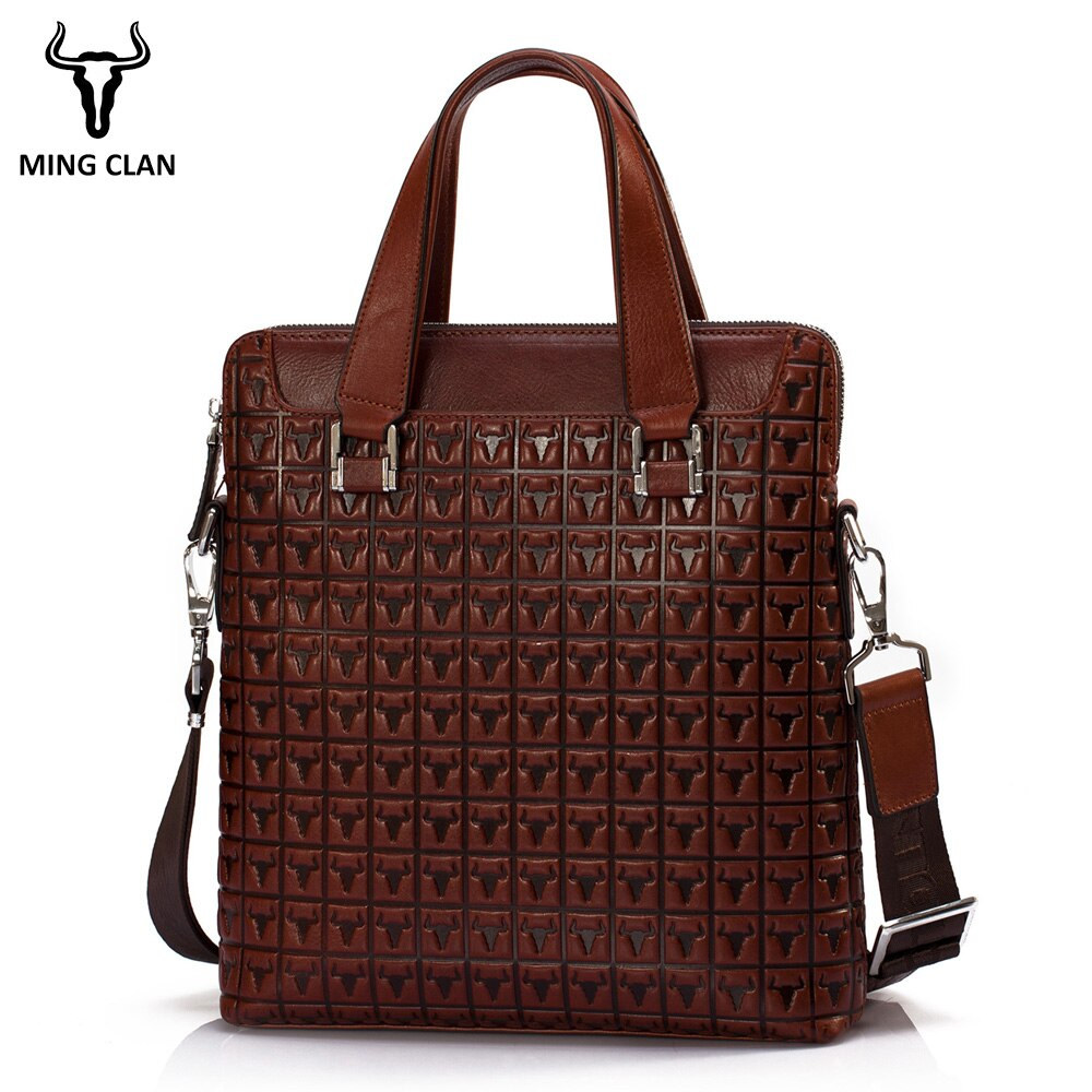 Mingclan Men's Genuine Leather Bag Briefcases Male Business Computer Laptop Bags Print Crossbody Suitcase Office Work Bag