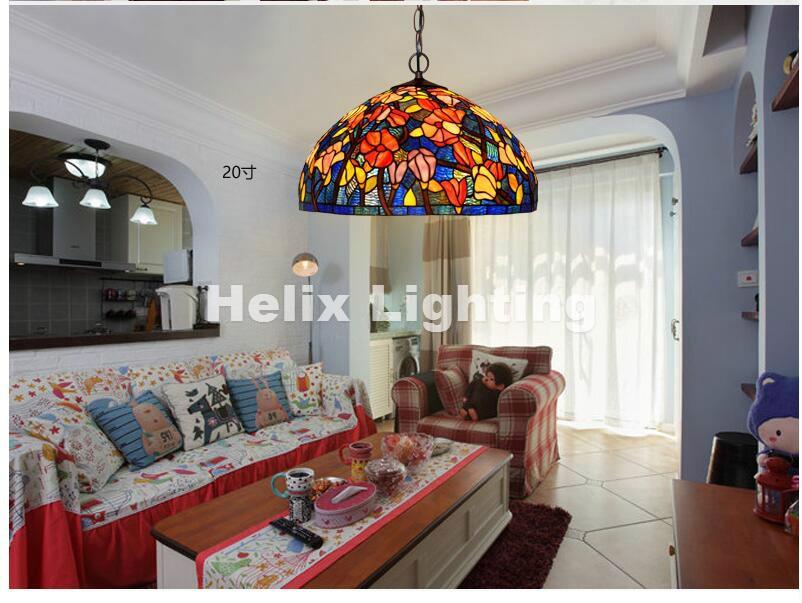 ¡Envío gratis! lámpara colgante de dormitorio con diseño floral Tiffany novedoso para decoración del balcón del hogar AC E27 100% garantizado