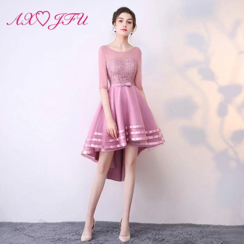 AXJFU Rosa vestido de noche de encaje azul marino primavera novedad de verano anfitrión alta/Baja arco vestido de noche champán de moda pequeño negro vestido