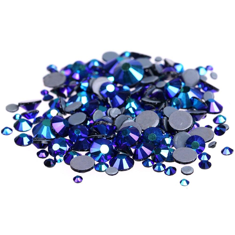 Cristales AB negros de calidad AAAA de 1440 Uds., diamantes de imitación de fijación en caliente para decoración de ropa, ropa, diamantes de imitación con parte posterior plana