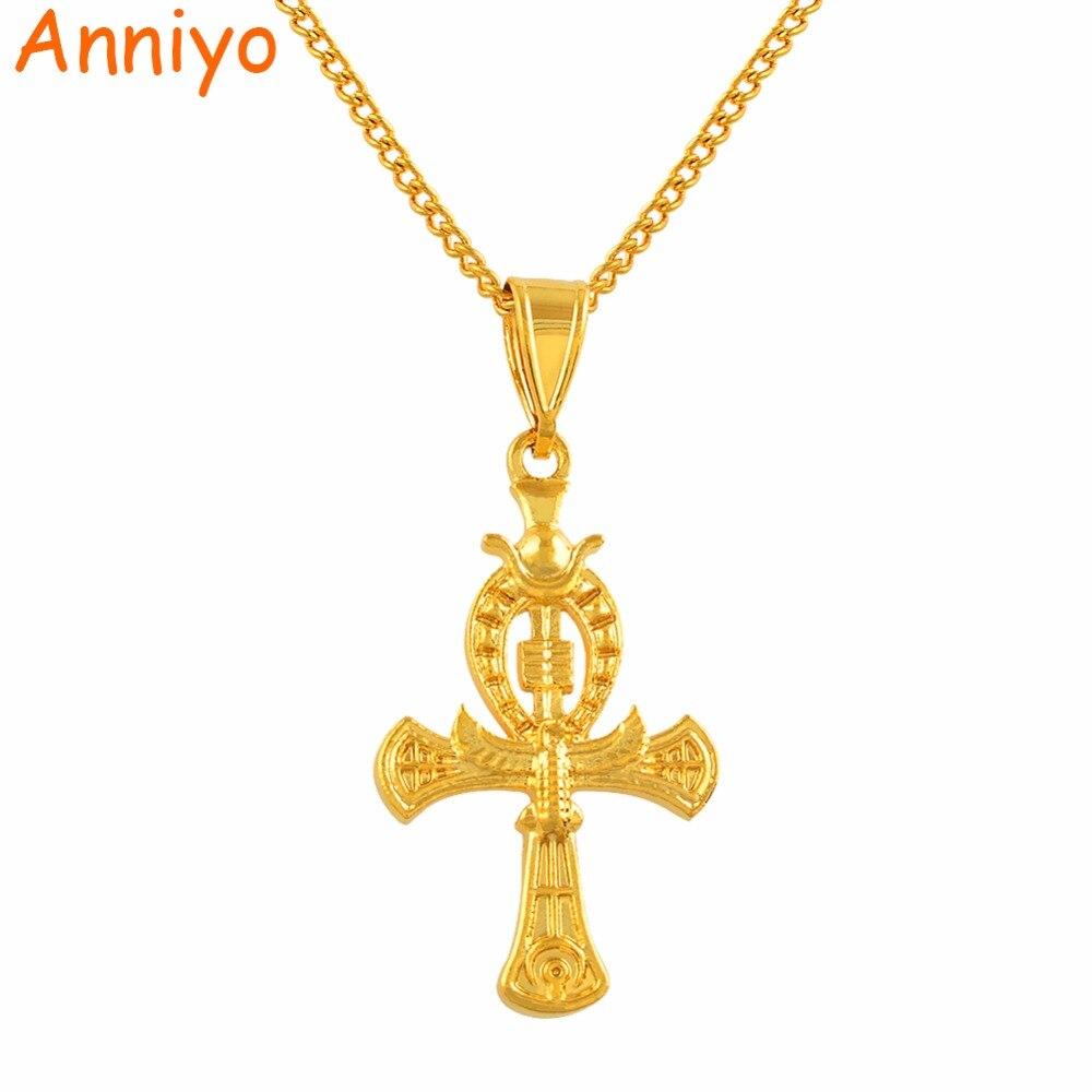 Anniyo ankh cruz pingente colares cor de ouro antigo símbolo de amuletos egípcios jóias africanas egito cruzes charme #123106
