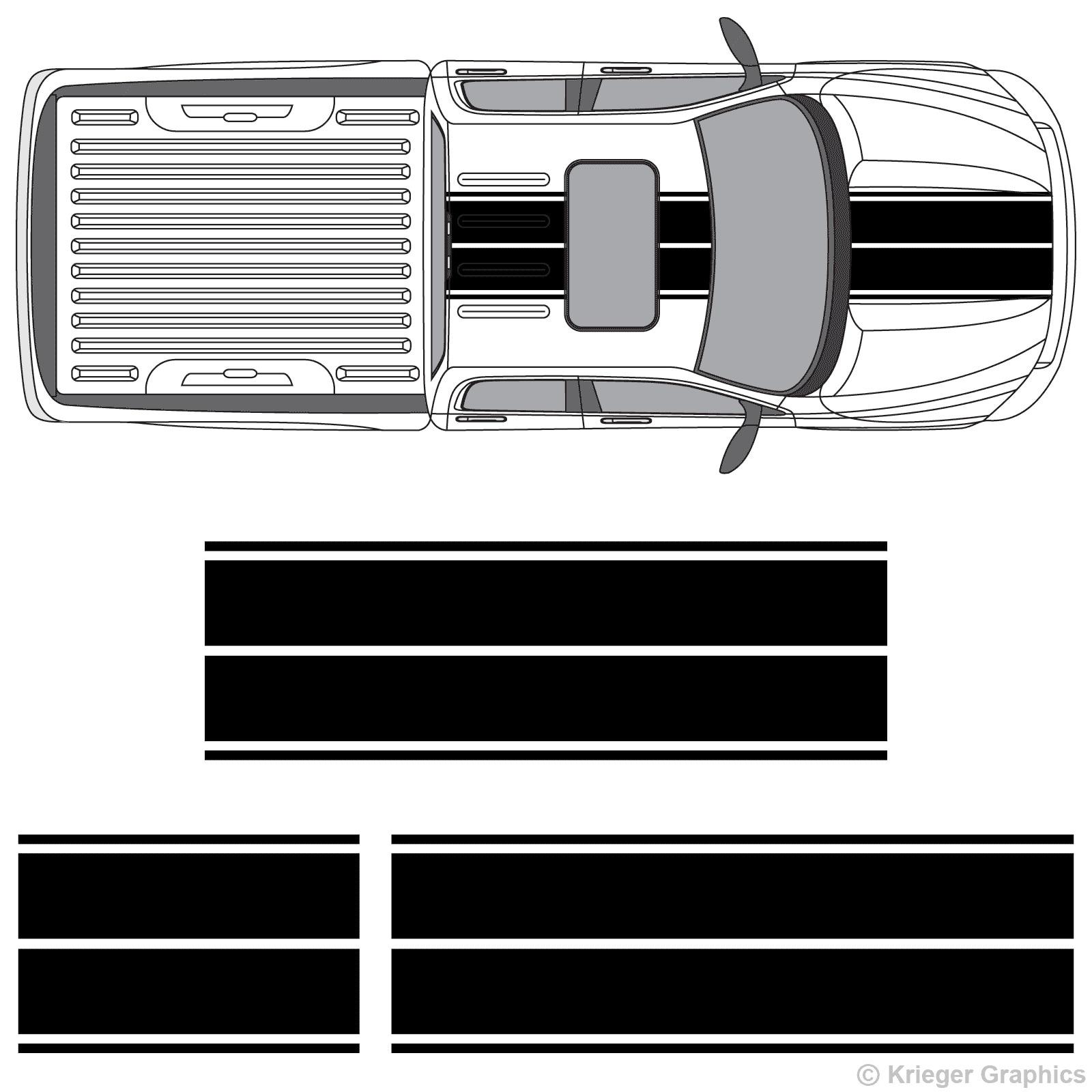 Para 1 juego Dodge Ram Dual Rally rayas de competición vinilo raya doble calcomanías estilo Coche